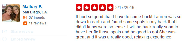 Massage Therapy San Diego Reviews